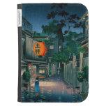 Cool oriental japanese Kasamatsu night street rain Kindle Cases