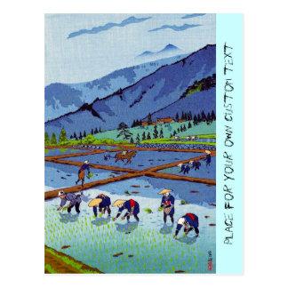 Cool oriental japanese Kasamatsu Rice Planting Postcard