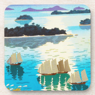 Cool oriental japanese Kawai Kenji Sunset Lake Beverage Coaster