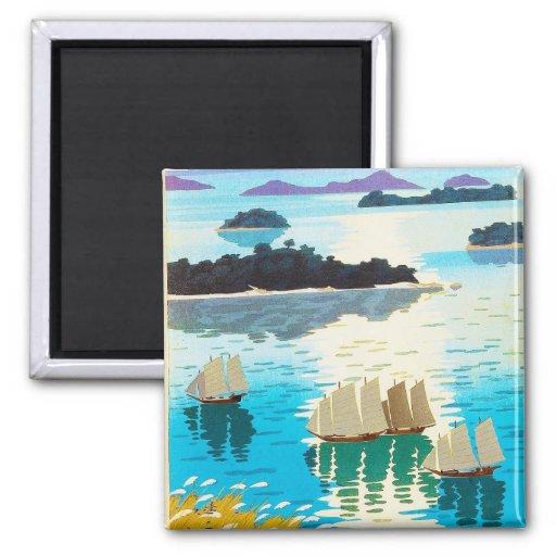 Cool oriental japanese Kawai Kenji Sunset Lake Fridge Magnet