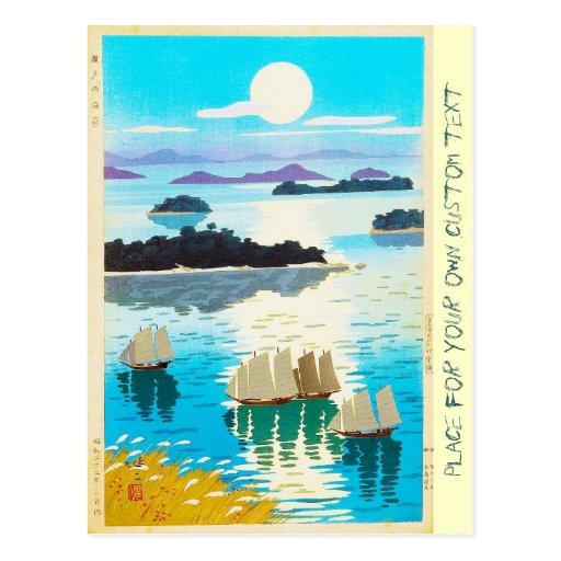 Cool oriental japanese Kawai Kenji Sunset Lake Postcards