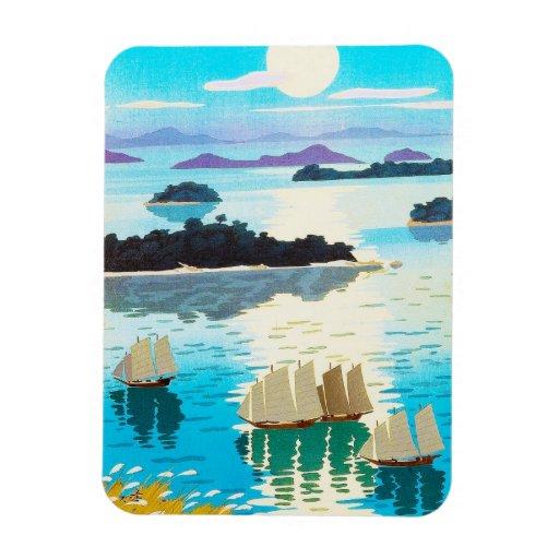 Cool oriental japanese Kawai Kenji Sunset Lake Rectangular Magnets