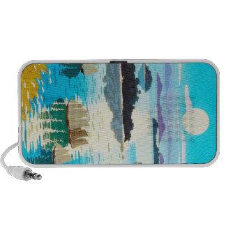 Cool oriental japanese Kawai Kenji Sunset Lake iPod Speaker