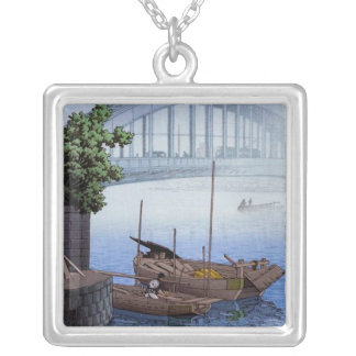 Cool oriental japanese Kawase boat bridge in mist Silver Plated Necklace