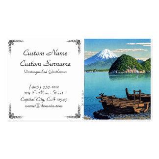 Cool oriental japanese Kawase Fuji sea boat view Business Card