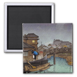 Cool oriental japanese Kawase rainy day art 2 Inch Square Magnet