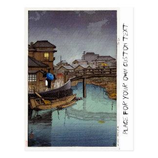 Cool oriental japanese Kawase rainy day art Postcard