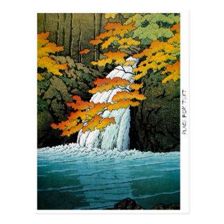 Cool oriental japanese Kawase Senju Waterfall art Postcard
