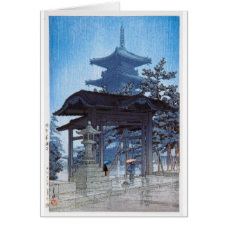 Cool oriental japanese Kawase Shrine entrance art Card