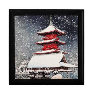 Cool oriental japanese Kawase winter scenery art Gift Box