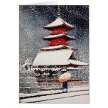 Cool oriental japanese Kawase winter scenery art Stationery Note Card