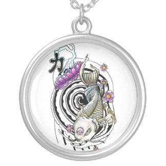 Cool Oriental Japanese Koi Black Whirlpool Lotus Silver Plated Necklace