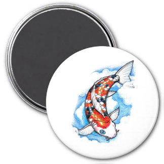 Cool Oriental Japanese Koi Carp Cloud tattoo 3 Inch Round Magnet