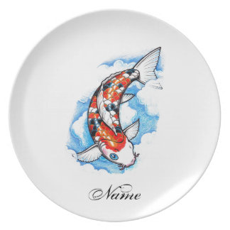 Cool Oriental Japanese Koi Carp Cloud tattoo Plate