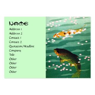 Cool oriental japanese koi carp fish emerald water business cards