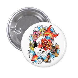 Cool Oriental Japanese Koi Carp Fish Flowers Pinback Button