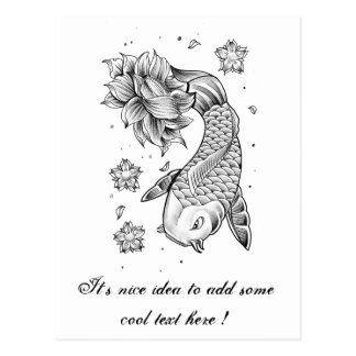 Cool Oriental Japanese Koi Carp Fish Lotus flower Postcards