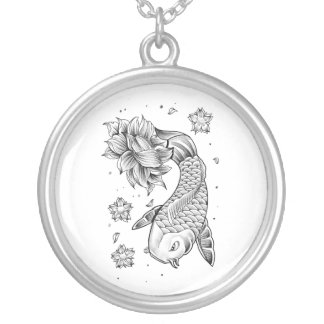 Cool Oriental Japanese Koi Carp Fish Lotus flower Silver Plated Necklace
