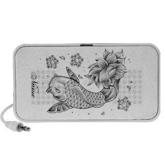Cool Oriental Japanese Koi Carp Fish Lotus flower Notebook Speakers