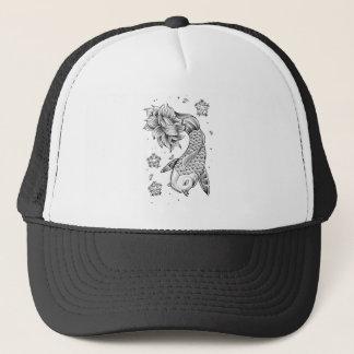 Cool Oriental Japanese Koi Carp Fish Lotus flower Trucker Hat