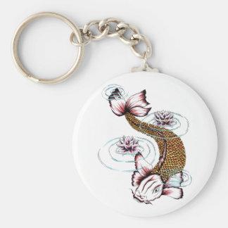 Cool Oriental Japanese Koi Carp Fish Pink Lotus Key Chains