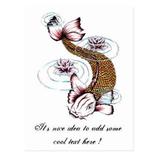 Cool Oriental Japanese Koi Carp Fish Pink Lotus Post Cards