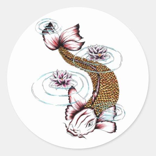 Cool oriental japanese koi carp fish pink lotus sticker for Pink koi fish
