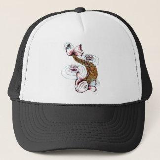 Cool Oriental Japanese Koi Carp Fish Pink Lotus Trucker Hat