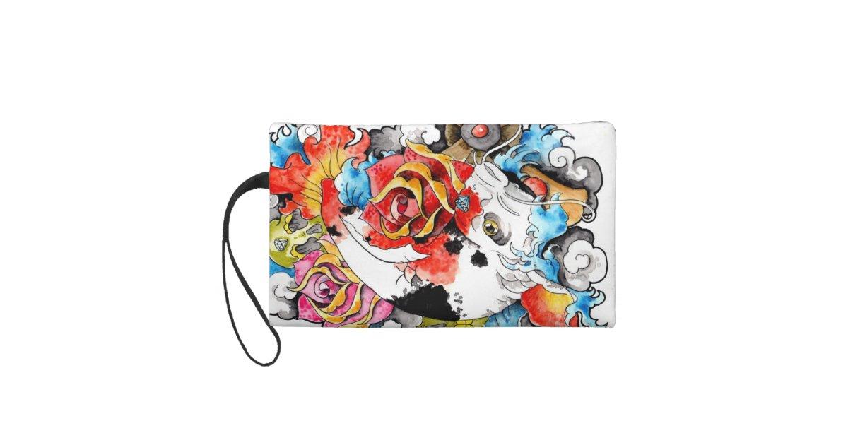Cool oriental japanese koi carp fish rose wristlet purse for Koi fish purse