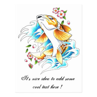 Cool Oriental Japanese Koi Carp Fish Water tattoo Post Cards