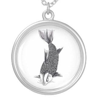 Cool Oriental Japanese Koi Carp Fish Watercolor Round Pendant Necklace
