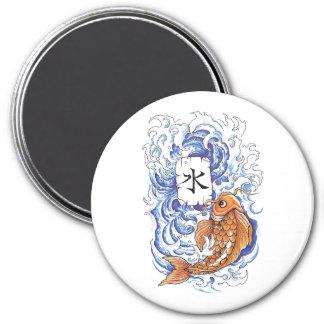 Cool Oriental Japanese Koi Carp Fish Wave tattoo 3 Inch Round Magnet