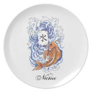 Cool Oriental Japanese Koi Carp Fish Wave tattoo Dinner Plate
