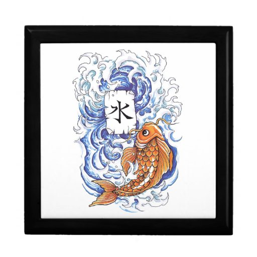 Cool oriental japanese koi carp fish wave tattoo gift box for Cool fishing gifts