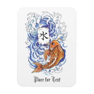 Cool Oriental Japanese Koi Carp Fish Wave tattoo Rectangular Photo Magnet