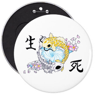 Cool Oriental Japanese Koi Carp Life Death Pinback Buttons