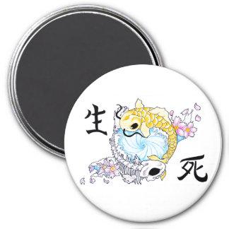 Cool Oriental Japanese Koi Carp Life Death 3 Inch Round Magnet