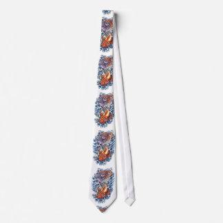 Cool Oriental Japanese Koi Carp purple Lotus Tie