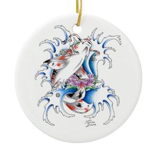 Cool Oriental Japanese Koi Carp Water tattoo Christmas Tree Ornaments