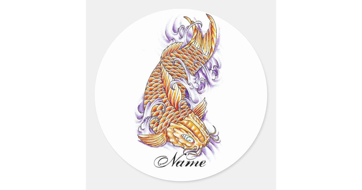 Cool oriental japanese koi fish carp gold tattoo classic for Cool koi fish