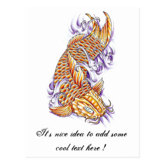 Cool Oriental Japanese Koi Fish Carp Gold tattoo Postcard