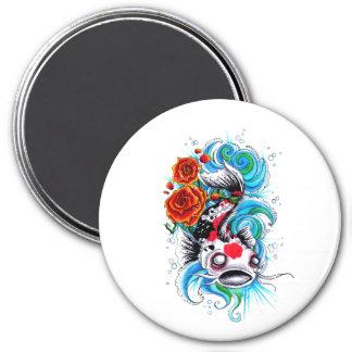 Cool Oriental Japanese Koi Fish Carp Rose tattoo 3 Inch Round Magnet