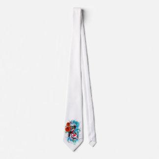 Cool Oriental Japanese Koi Fish Carp Rose tattoo Neck Tie