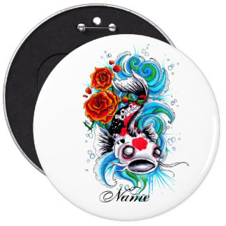 Cool Oriental Japanese Koi Fish Carp Rose tattoo Pinback Button
