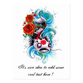 Cool Oriental Japanese Koi Fish Carp Rose tattoo Post Cards