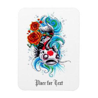 Cool Oriental Japanese Koi Fish Carp Rose tattoo Rectangular Photo Magnet