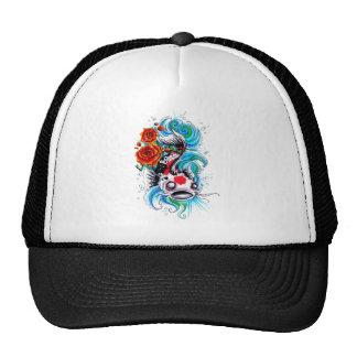 Cool Oriental Japanese Koi Fish Carp Rose tattoo Trucker Hat