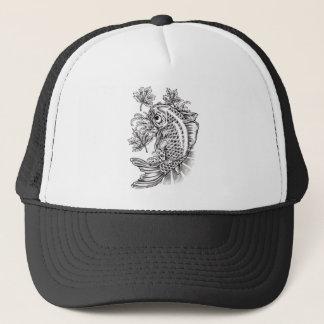 Cool Oriental Japanese Koi Fish Carp tattoo Trucker Hat