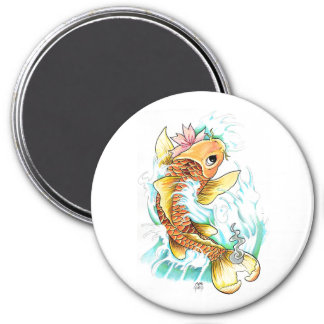 Cool Oriental Japanese Koi Gold Fish Carp Flower 3 Inch Round Magnet