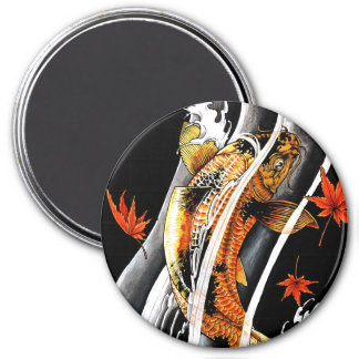 Cool Oriental Japanese Koi Lucky Carp Water Ink 3 Inch Round Magnet